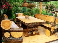 table and chairs from fallen trees