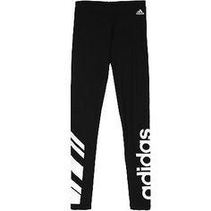 Adidas Logo Cotton Leggings Womens AI3042 Black White Tight Pants Wmns Size XL