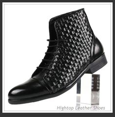 Free shipping new 2014 hightop fashion men's ankle boots,knitted full grain leather,lace-up,round toe, 2 colors,size38-45 $475.00
