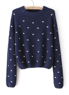 Navy Long Sleeve Bow Embroidered Pullover Sweater