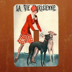 Dog Walker  Vintage French Magazine Cover Light by Polkadotdog