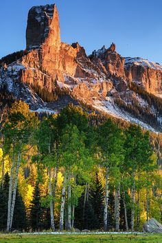 Chimney Rock at Sunset in the mountains of Colorado