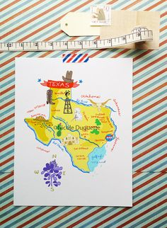Dont mess with Texas! Celebrate the lone star state in its historic glory with this fun illustrated map, perfect gift for your favorite Texan or a