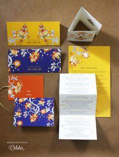 Looking for Modern Floral Cards in Blue Yellow and Orange? Browse of latest bridal photos, lehenga & jewelry designs, decor ideas, etc. on WedMeGood Gallery. Indian Wedding Invitation Cards, Indian Wedding Cards, Indian Wedding Planning, Pocket Wedding Invitations, Destination Wedding Invitations, Beautiful Wedding Invitations, Printable Wedding Invitations, Floral Wedding Invitations, Invites