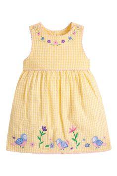 Buy JoJo Maman Bébé Yellow Bird Appliqué Dress from the Next UK online shop Bird Applique, Applique Dress, Little Dresses, Girls Dresses, Chic Outfits, Kids Outfits, Kids Dress Collection, Teddy Bear Clothes, Baby Girl Dress Patterns