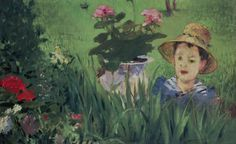 MANET, Edouard  : Boy in Flowers (Jacques Hoschedé)   (1876)   oil on canvas   60 x 97    The National Museum of Western Art, Tokyo