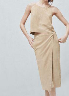 Premium - zamszowa spódnica z zakładaną tkaniną | MANGO