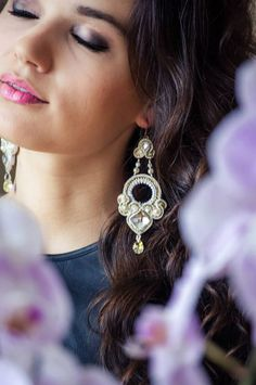 Bridal soutache earrings wedding soutache by SimSimsoutache