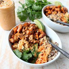 Thai Peanut Sweet Potato Buddha Bowls | vegan Buddha bowl recipe | potluck at ohmyveggies.com