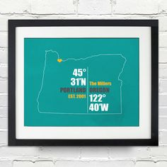 Date & Place with Coordinates Wedding or Anniversary by inkofme, $15.00