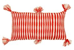 Antigua hand woven red and white pillow with tassels (Archive New York)
