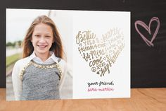Lettered Heart Foil-Pressed Classroom Valentine's Day Cards by lena barakat at minted.com