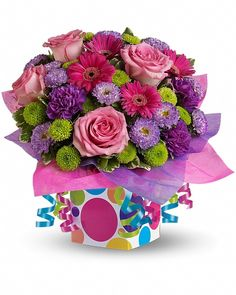 Awesome Confetti Present Flowers And Presents Make Festive Gifts Especially When They Are Paired