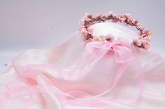 Bridal Wreath Bridal Headband Pink Flowers by LenaWeddings