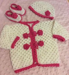 Baby Crochet Hand Made White & Pink Outfit : Jacket, Hat & Shoes  | eBay