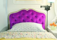 Little Green Notebook: How to Upholster a Framed Diamond Tufted Headboard  could be a good idea for the part down  the windows who is realy cold in winter and warm in sommer