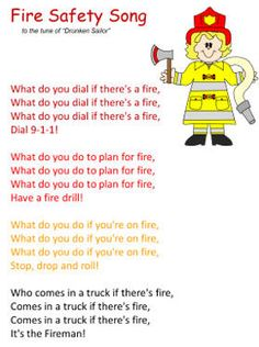 fire safety song- F is for Fire Week 12 Fire Safety Crafts, Fire Safety Week, Preschool Fire Safety, Fire Safety For Kids, Summer Safety, Family Safety, Child Safety, Preschool Songs, Preschool Lessons