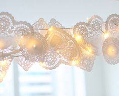 doilies and fairy lights