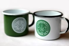 {enamel camp mugs} sturdy steel coated in resilient enamel to last for generations. 1/$18 or 2/$32. sanborn canoe company