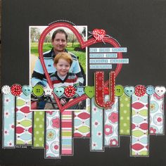 #papercraft #Scrapbook #layout     Love U scrapbook layout ...great heart placement & white doodling