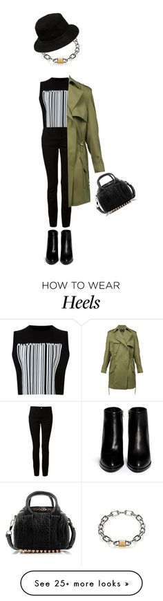 """Alexander Wang outfit black denim and accessories with army green coat."" by kohlanndesigns on Polyvore featuring T By Alexander Wang, Alexander Wang, women's clothing, women's fashion, women, female, woman, misses and juniors"