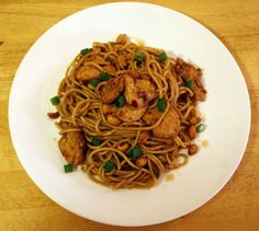 Charlie Chan Pasta, Chicken, mushrooms, and peanuts in a spicy oriental sauce.