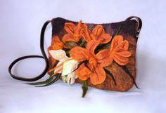 Spring Felted Orange Brown Bag Woman Felt Handbag Big Flowers Shoulder by FeltBagsbyMarta on Etsy
