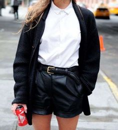 traditional black + white collared shirt with leather leggings or shorts