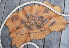Peter Pan Neverland Leather Burned Treasure Map Book Wrap Medium Size
