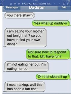Autocorrect/parent texting fail! Lol