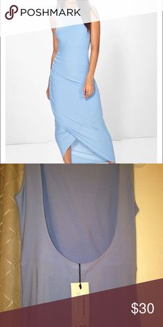 Baby Blue Midi Wrap Dress Beautiful summer dress in baby blue which is al the rage! Never been worn. Boohoo Dresses Midi