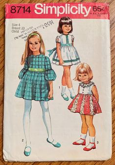 Girl's Party Dress Pattern with Lace or Ruffle Trim Simplicity 8714 Child's Vintage Sewing Pattern Size 4 FF Unused Childrens Sewing Patterns, Simplicity Sewing Patterns, Vintage Sewing Patterns, Clothing Patterns, Dress Patterns, Ag Clothing, Vintage Clothing, Print Patterns, Vintage Fashion