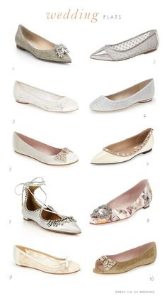 Flat Wedding Shoes | Cute Flats for Weddings. Pretty embellished flats, satin flats, ivory flats, and other cute comfy flat shoes styles for brides, bridesmaids and wedding parties.