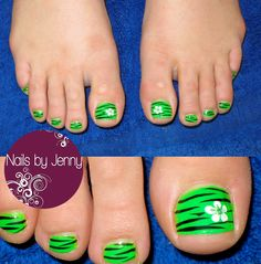 Lime green Pedicure with Flowers and Zebra Stripes!