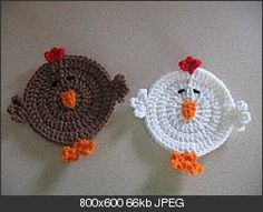 Oh-h-h yea.  I can use these while flock-watching. Now I need a hen T-pot cozy.    Chicken Coasters - free crochet pattern