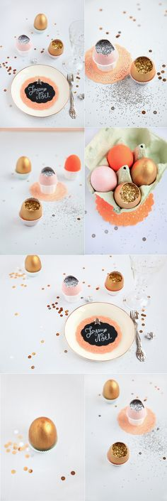 Fill eggs (place settings) with glitter.. then have guests break them open to be surprised that they are not hard boiled eggs!