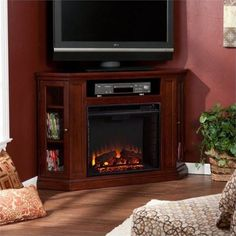 Southern Enterprises Claremont Convertible Cherry Electric Fireplace Media Console, As Shown Corner Fireplace Tv Stand, Fireplace Media Console, Electric Fireplace Tv Stand, Fireplace Mantel, Electric Fireplaces, Corner Fireplaces, Fireplace Heater, Simple Fireplace, Fireplace Ideas