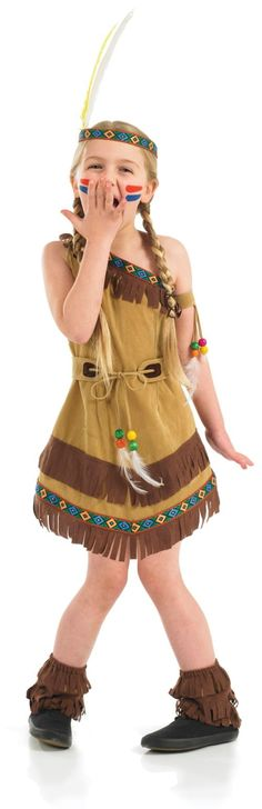 Childs Indian Squaw Girl Costume now available @ www.partyonfancydress.co.uk