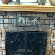 tile fireplace in Burlingame CA - is this something that would look good in our house? Craftsman Style, Fireplace Redo, Cottage Design, Room Remodeling, Fireplace Tile Surround, Historic Home, Living Room Remodel, Fireplace Surrounds, Fireplace