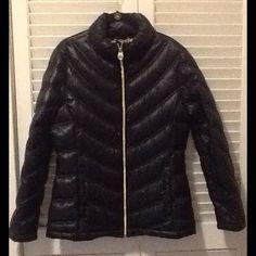 Calvin Klein Down Puffer Jacket Black, chevron design, packable, nylon shell, down filling, gold zipper, machine wash. Hardly worn Calvin Klein Jackets & Coats Puffers