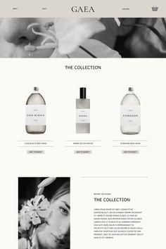 Cairn & Grace case study Branding / brand identity. Gaea Organic. monochrome design website mockup Website Design Layout, Layout Design, Modern Web Design, Graphic Design, Identity Design, Brand Identity, Web Design Awards, Modern Website, Website Themes