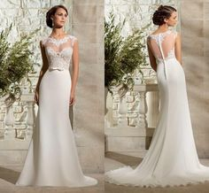 Newest Ivory Lace Vintage Wedding Dresses Beach Bridal Gown with Sheer Lace Back A-Line Jewel Cap Sleeve Wedding Gown Dress for Wedding 2015 Online with $117.81/Piece on Magicdress2011's Store | DHgate.com