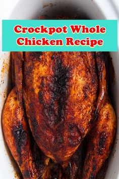 ★★★★★ 785 Crockpot Whole Chicken Recipe This crockpot whole chicken is the fine and easiest manner to make a pro rotisserie style bird at home. The recipe is so simple and properly, so i haven't made any adjustments, simply updated the images. Slow Cooker Chicken Whole, Crockpot Whole Chicken Recipes, Whole Baked Chicken, Keto Crockpot Recipes, Chicken Pasta Recipes, Chicken Thigh Recipes, Crockpot Dishes, Stuffed Whole Chicken, Meatloaf Recipes