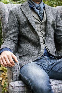 Walker Slater Details Gallery - WalkerSlater.com Harris Tweed Edward jacket in charcoal herringbone, James waistcoat in grey wide herringbone tweed, Archie shirt in dark denim