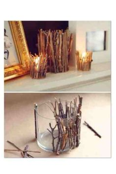 Homemade candle holders! You will need: Empty cups (I used Nutella jars) Glue gun Twigs from outside