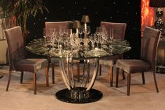 Furniture. glamorous round glass dining table decor with rounded chrome metal single pedestal base. Mesmerizing Pedestal Bases For Glass Top Dining Tables Ideas