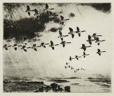 """Frank Benson (American: 1862 - 1951): The Long Journey; etching; 1926; Reference: Paff - Ordeman 254; pencil signed; edition size: 150; printed on cream Whatman paper; 9-3/4 x 11-3/4"""" platemark."""