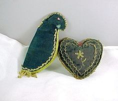 Antique Embroidered Heart Sewing Pin Cushion and Figural Parrot Needle Case | eBay
