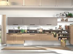 Wooden kitchen with handles Gallery Collection by Cucine Lube