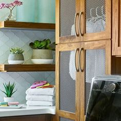 Laundry day feels like an oasis getaway in this gorgeous Rumor Designs space! Frosty Carrina, rich woods, and bright accessories complete this tropical haven, captured by David Patterson. Rustic Laundry Rooms, Pantry Laundry Room, Small Laundry Rooms, Laundry Room Design, Laundry Decor, Kitchen Design, Small Closet Space, Small Closets, No Closet Solutions